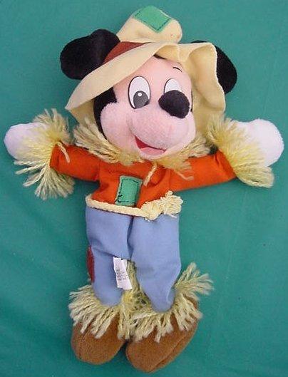 """Mickey Mouse Scarecrow Disney Resorts Beanie Plush 8"""""""