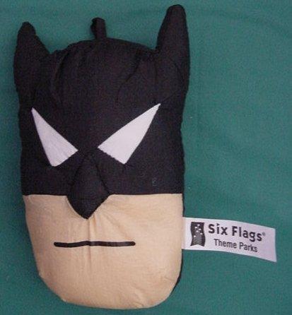 Batman Six Flags Mini Face Pillow Hangs Stuffed Plush