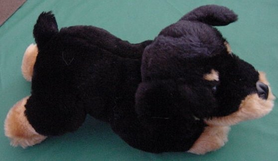 Calplush Rottweiler Black & Brown Dog Stuffed Plush 11""