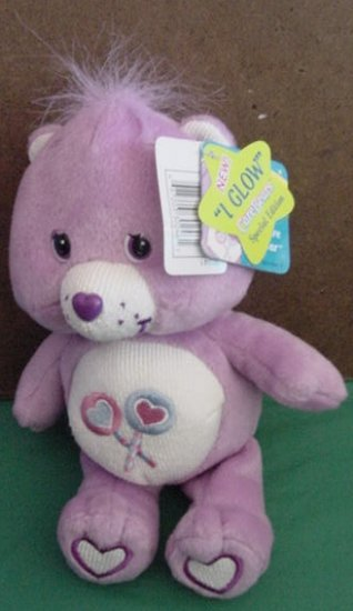 "Care Bears Lil Glows Share Bear Beanie Plush 8"" 2004"