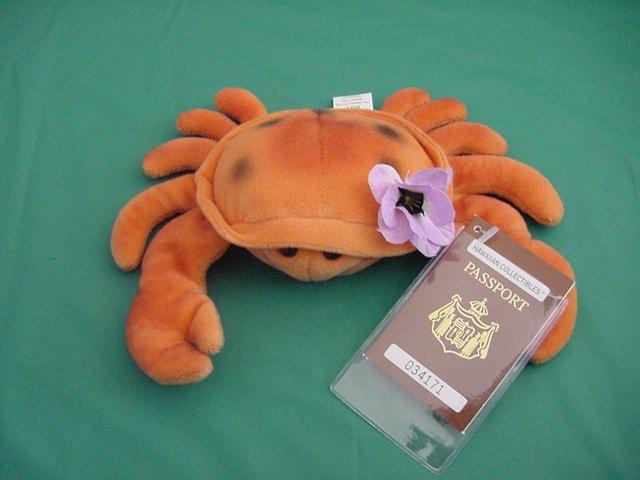 "Hawaiian Sideways Running Crab Beanie Plush 6"" Tag"
