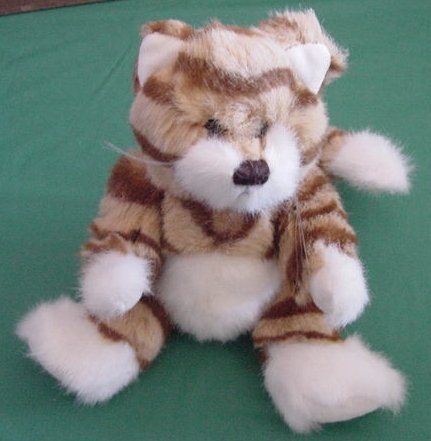 "Kel-Toy Tabby Cat Kitty Rusty Orange Jointed Stuffed Plush 6"""