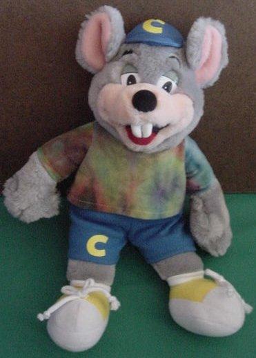 """Chuck E Cheese Tie Dye Shirt Stuffed Plush 12"""" 2002"""