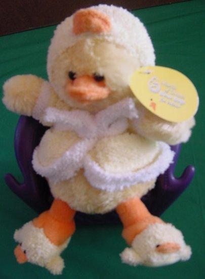 "Plushland Waddles Yellow Duck in Bathrobe Slippers Plush Beanie 8"" Tag"