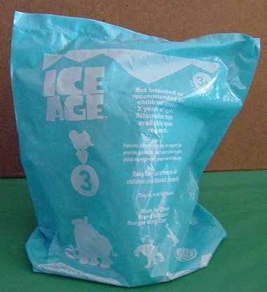 Burger King Ice Age Scrat in Bag 2002 20th Century Fox