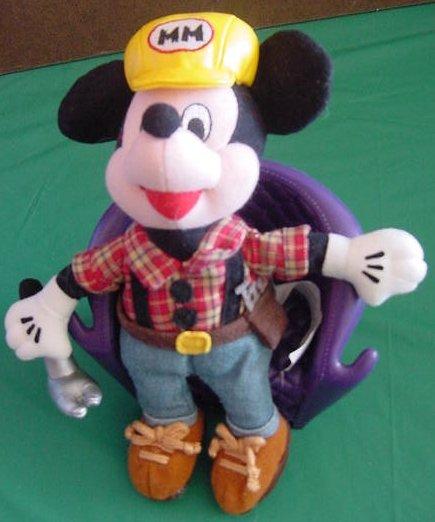 "Mickey Disneyland Construction Hammer Beanie Plush 8"""