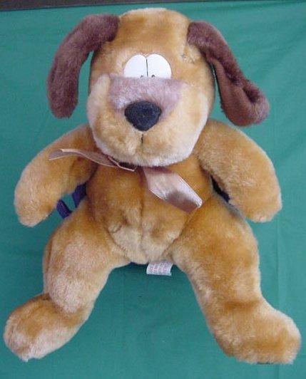 "Circus Circus Brown Funny Eyes Dog Stuffed Plush 8"" Paw Print Feet"