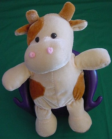 Kuddle Me Toys Spotted Tan Brown Cow Stuffed Plush 6""
