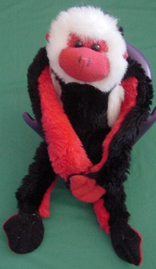 "Fiesta Velcro Hands Red Black Monkey Stuffed Plush 12"""