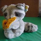 Dakin 1986 Rupert Raccoon Stuffed Plush Tag Butterfly