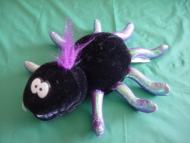 "Shanghai Toys Black Spider Beanie Stuffed Plush 6"" Halloween"