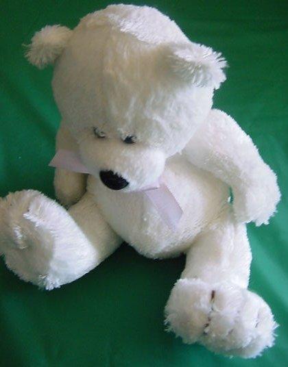 "Fiesta Off White Sitting Bear Beanie Stuffed Plush 6"""