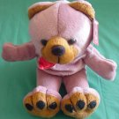 "Fiesta Bear Beanie Purplish Brown Stuffed Plush 6.5"""
