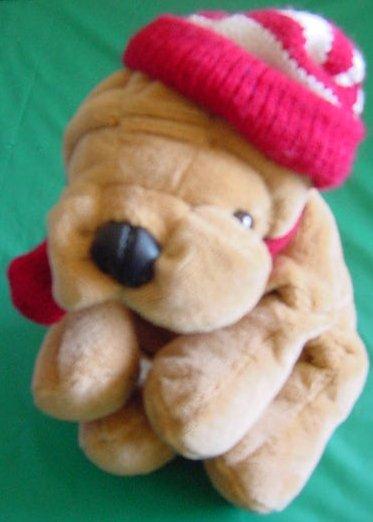 "Commonwealth Wrinkly Dog Striped Hat Stuffed Plush 7"""