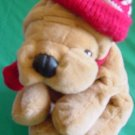 Commonwealth Wrinkly Dog Striped Hat Stuffed Plush 7""