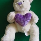 Soft Spring Bear Holding Purple Heart Stuffed Plush 6""
