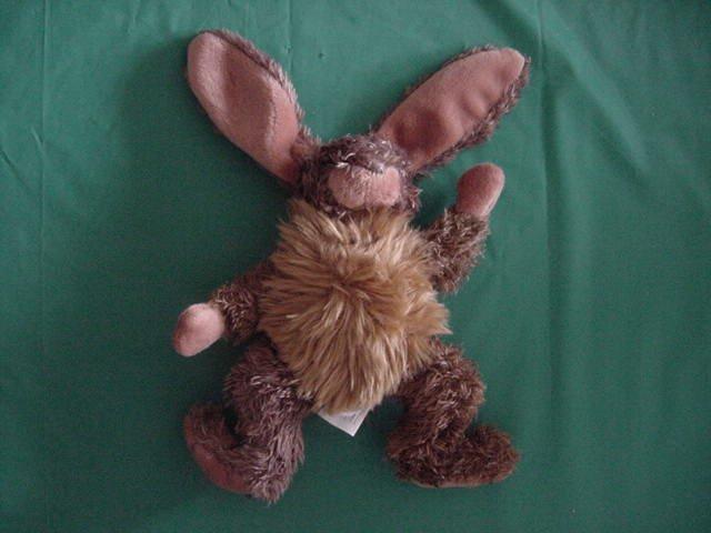 "Fiesta Brown Bunny Stuffed Plush Beanie Hairy Chest 6"""