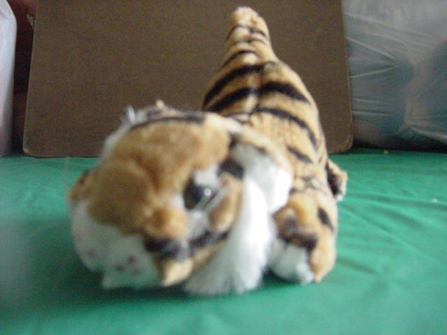 """K&M Crouching Tiger Bengal Orange Stuffed Plush 6"""" 1995"""