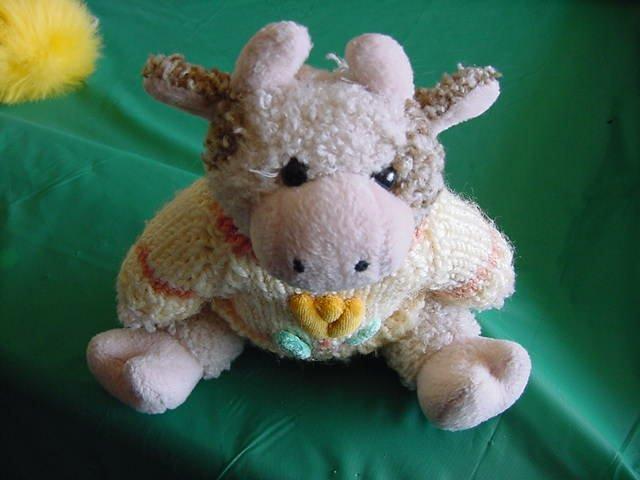 """Easter Cow in Sweater Jointed Stuffed Plush 9"""" Hugfun"""