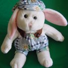 White Bunny Rabbit Flower Outfit Stuffed Plush 6""