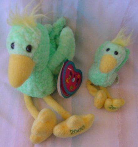 Avon Full O Beans 2 Green Birds Feathers Stuffed Plush