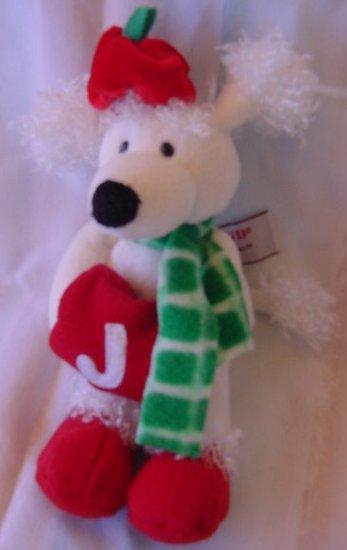 "Gund White Poodle Christmas Pals Stuffed Plush 9"""