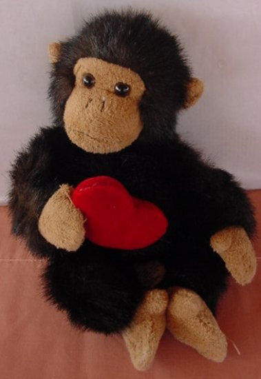 "Russ Berrie Target Monkey Red Heart Stuffed Plush 7"""