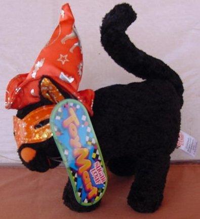 "Sugar Loaf Black Halloween Cat Orange Hat Plush 7"" Tag"
