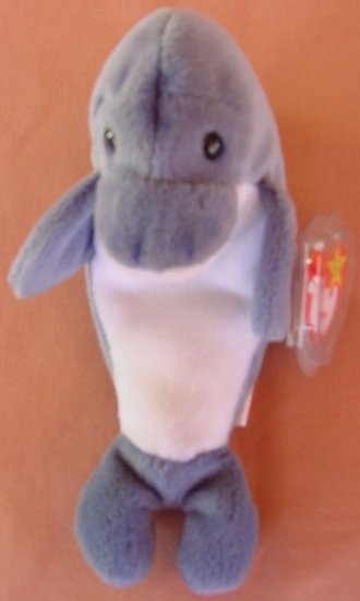"TY Beanie Baby Echo Dolphin Gray Stuffed Plush 7"" Tag"