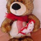 "Wal-mart Multi Brown Bear with Heart Stuffed Plush 12"""