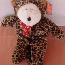 GAC Galerie Bear in Leopard Outfit Stuffed Plush 11""