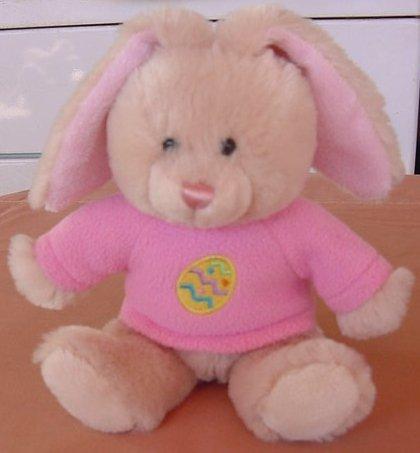 """Hug & Luv Squishy Easter Egg Bunny Stuffed Plush 9"""" Pink Shirt"""