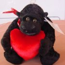 "Kids of America Black Gorilla Heart Stuffed Plush 6"" Tag"