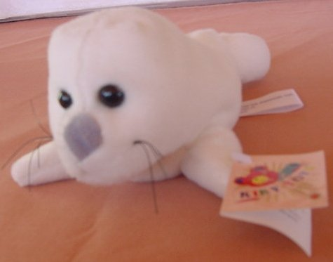 "Kiky Toys White Harp Seal Beanie Plush 7"" Tag Cute"