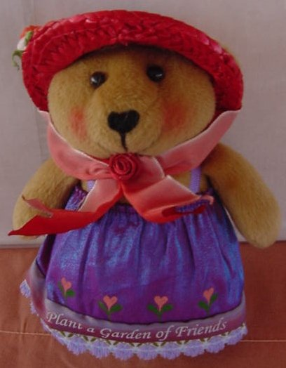 "Plant a Garden of Friends Bear Stuffed Plush 6"" Red Hat Joleson"
