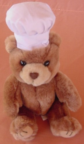 Brown Bear in Chef Hat Togue Art's Toy Stuffed Plush 8""