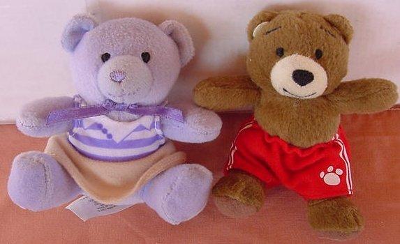 "Build a Bear Mini Bears Boy & Girl Stuffed Plush 3.5"""
