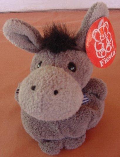 "Fiesta Gray Donkey Fatty Beanie Stuffed Plush 4"" Tag"