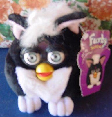 "Furby Buddies Black White Beanie Stuffed Plush 4"" Tag Good Joke"