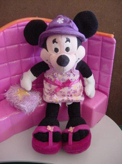 "Minnie Mouse Disney Store Hip Hat Flower Dress Beanie Plush 9"""