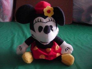 """Minnie Mouse Pie Eyed Beanie Stuffed Plush 6"""" Disney"""