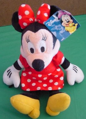 "Disney Minnie Mouse Soft Red Dress Stuffed Plush 8"" Tag"