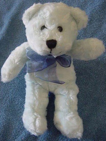 "Fiesta Light Blue Sitting Bear Soft Stuffed Plush 7"""