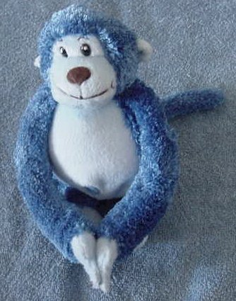 It's All Greek to Me Velcro Hands Monkey Stuffed Plush Blue Chubby