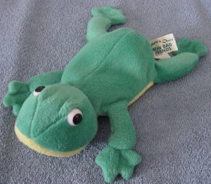 "DanDee Green Frog Beanie Stuffed Plush 7"" Older"