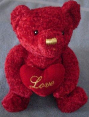 "DanDee Red Bear with Love Heart Stuffed Plush 8.5"""