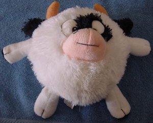 """Fiesta Black & White Round Cow Stuffed Plush 8"""" Mo"""