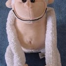 Carousel Toy White Chubby Monkey Stuffed Plush 8""