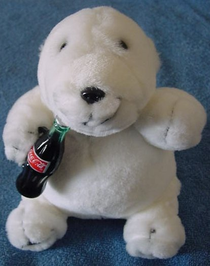 "Coca Cola Polar Bear With Bottle Stuffed Plush 7"" 1997"