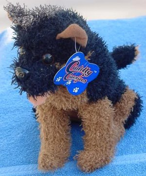 Cuddly Cousins Black & Brown Dog Stuffed Plush Tag